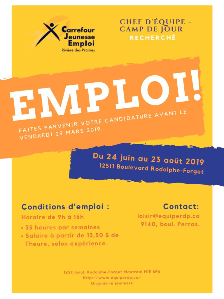 CHEF D'ÉQUIPE - CAMP DE JOUR